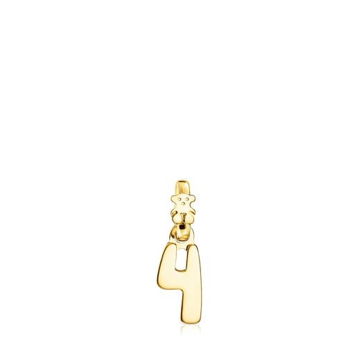 Silver Vermeil Numbers number 4 Pendant