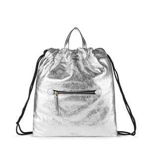 Silver colored Leather Tulia Crack Backpack