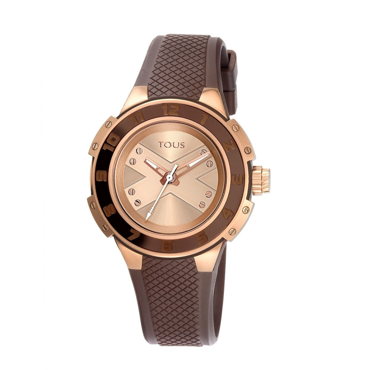 Two-tone pink/brown IP Steel Xtous Lady Watch with brown Silicone strap