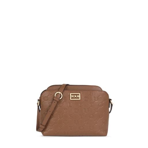 Brown Leather T Script Crossbody bag