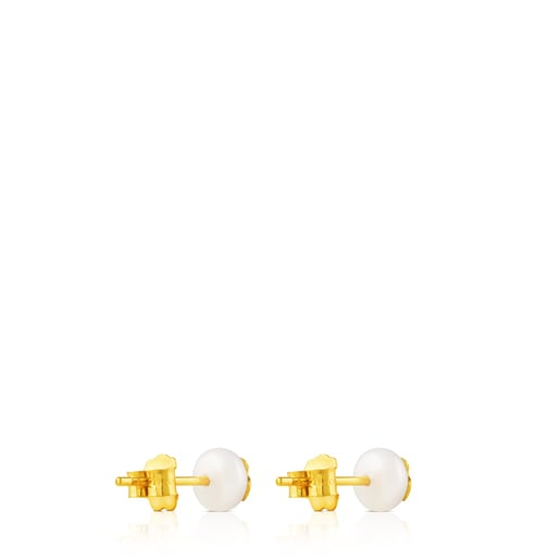 Gold TOUS Bear Earrings with Pearls