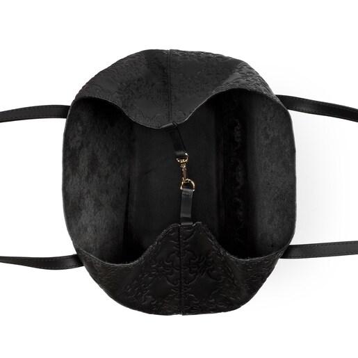 Sac cabas Mossaic moyen en Cuir de couleur noire