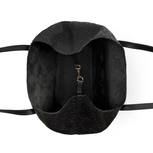 Medium black colored Leather Mossaic Tote bag