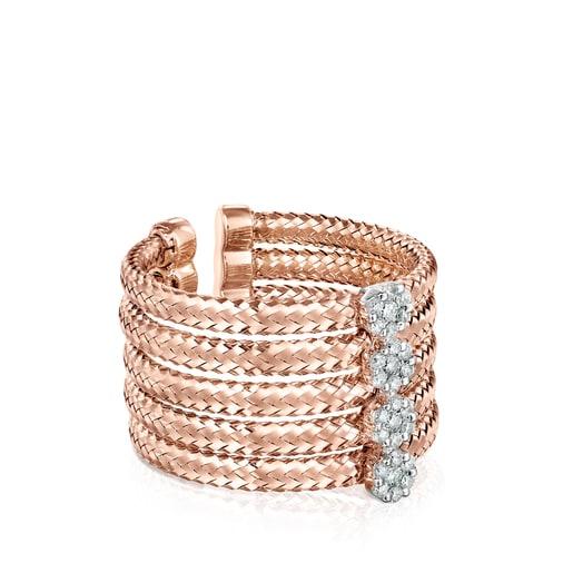 Anillo Light de Oro rosa con Diamantes