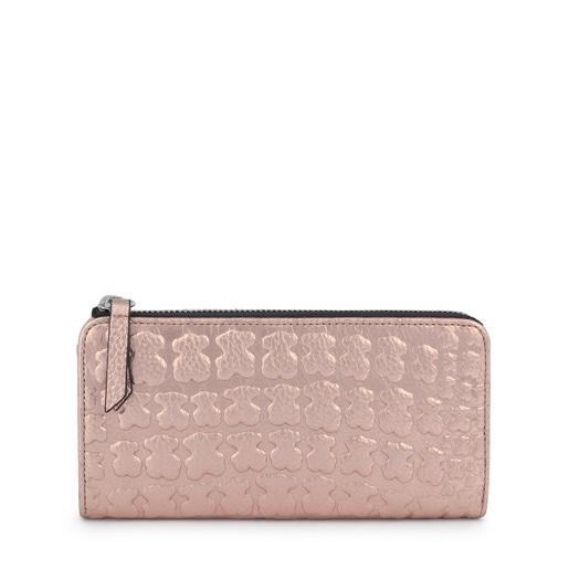 Billetera mediana Sherton rosa-oro de piel