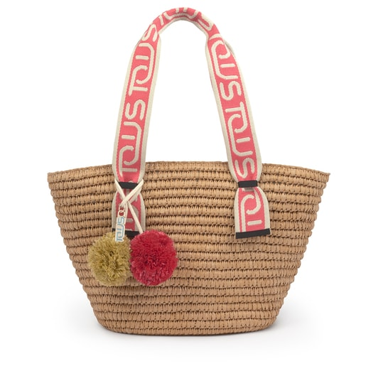 Large pink and natural colored TOUS Summer tote bag