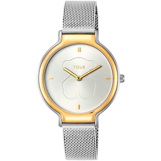 Relógio Real Bear bicolor em aço/IP dourado com correia Mesh