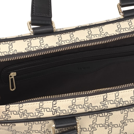 Beige and Black TOUS Logogram Briefcase