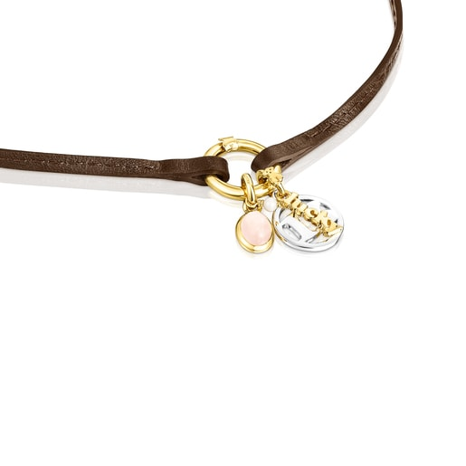 Silver TOUS Good Vibes 13 Necklace with rose Quartz and brown Leather