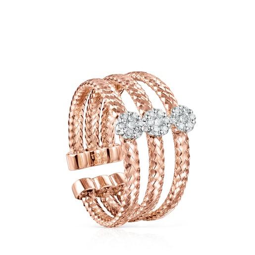 Anillo triple Light de Oro rosa con Diamantes