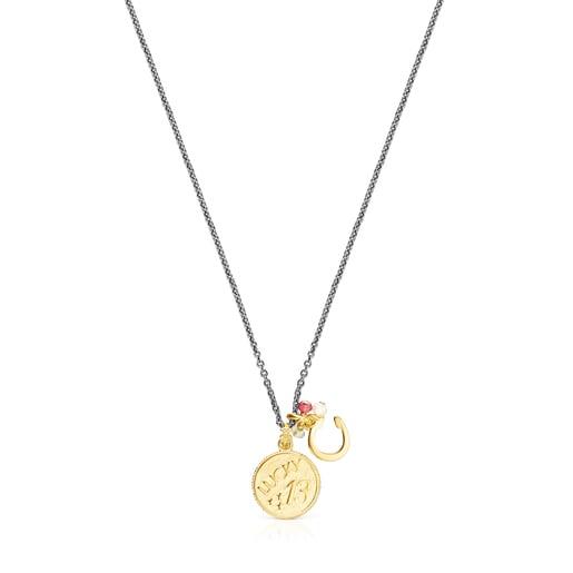 Collar TOUS Good Vibes 13 - herradura de plata vermeil, plata dark silver y gemas