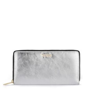 Medium silver colored Leather Tulia Crack Wallet
