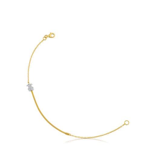 Gold and Diamond Icon Mesh Bracelet