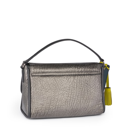 Small leather silver Bridgy crossbody bag