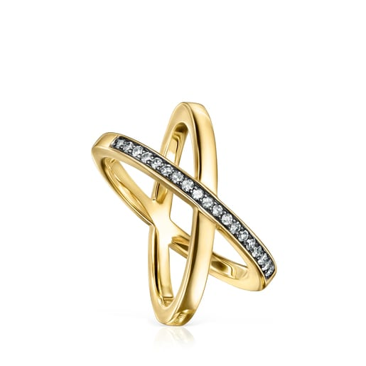 TOUS Nocturne crossed Ring in Silver Vermeil with Diamonds 2,2cm.