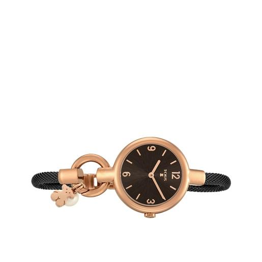 Montre Hold Charms en acier IP rosé avec bracelet en acier IP noir