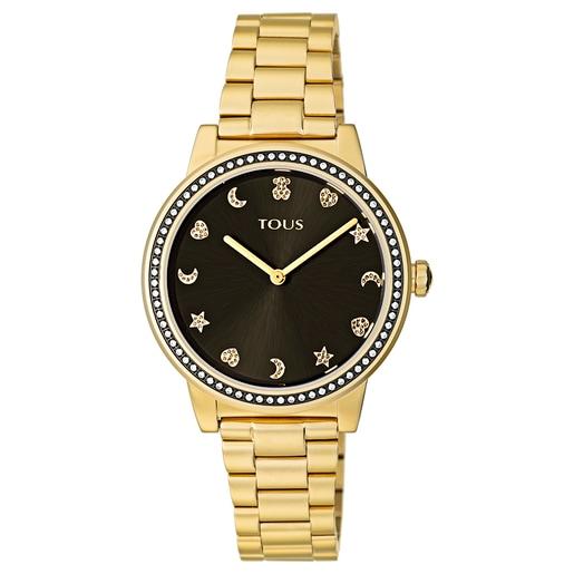 Reloj Nocturne de acero IP dorado con bisel de Zirconitas