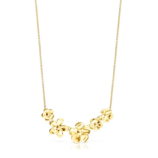 Long Silver Vermeil Fragile Nature flowers Necklace