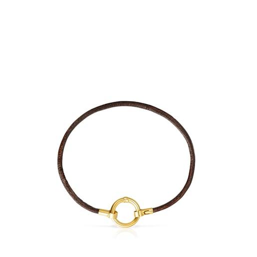 Pulsera Hold de Oro y Cuero marrón