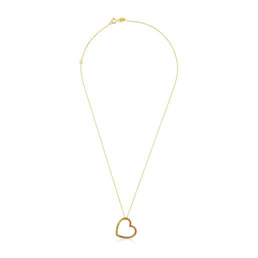 Gold Icon Necklace with multicolor Gemstones medium Heart motif