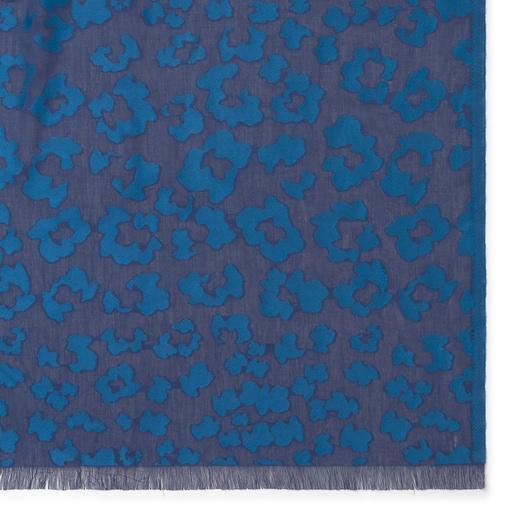 Blue jacquard Granate Leo Foulard