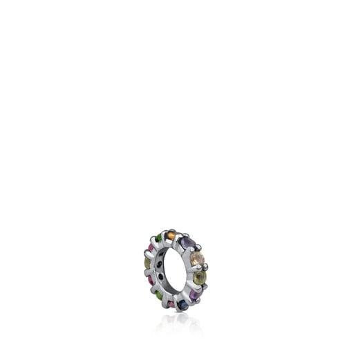 Small Dark Silver Shield Pendant with Gemstones