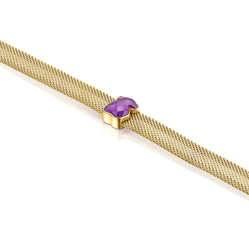 Halskette Mesh Color aus IP-Stahl in Gold mit Amethyst