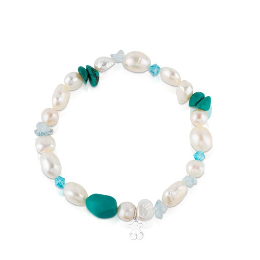 Silver TOUS Pearls Bracelet with Pearls, Magnesite and Apatite
