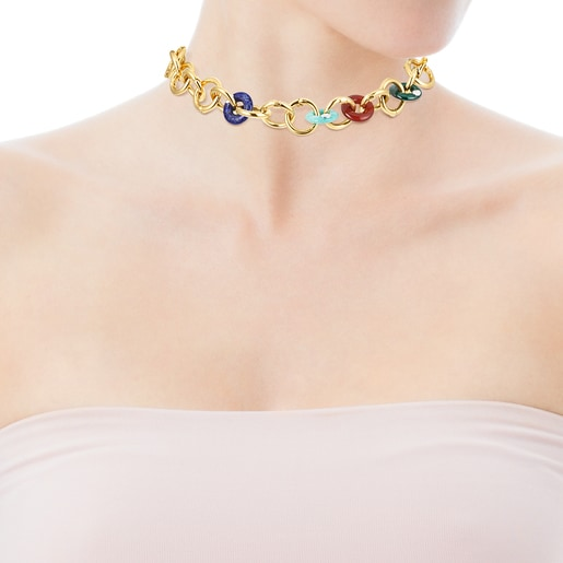 Collar de plata vermeil con gemas Hold Gems