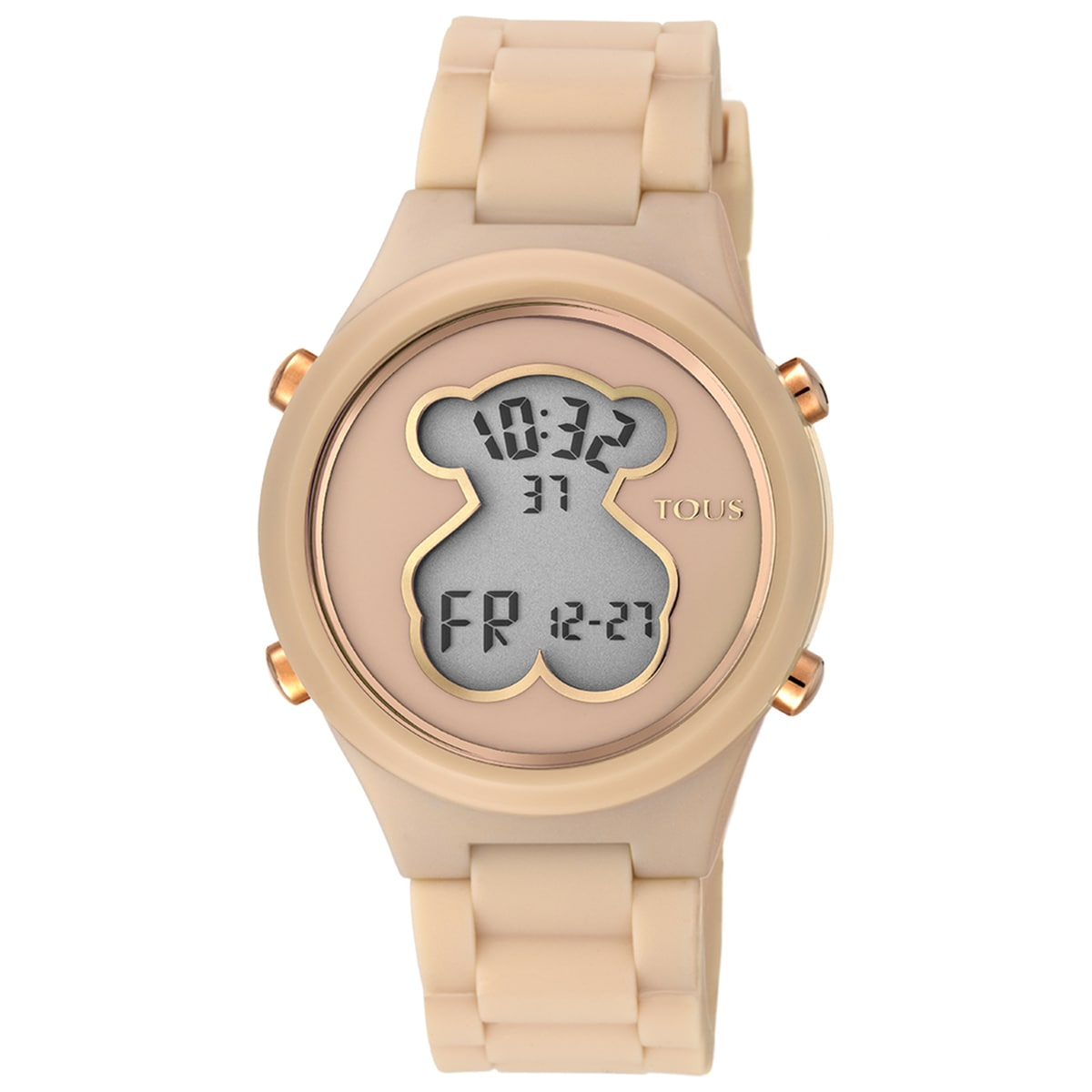 Polycarbonate D-Bear Watch with nude colored silicone strap
