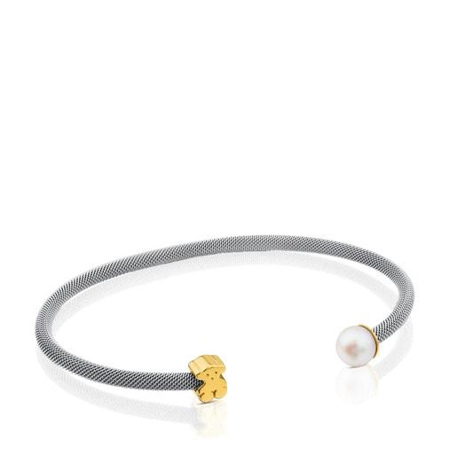 Pulsera Icon Mesh de Acero y Oro con Perla