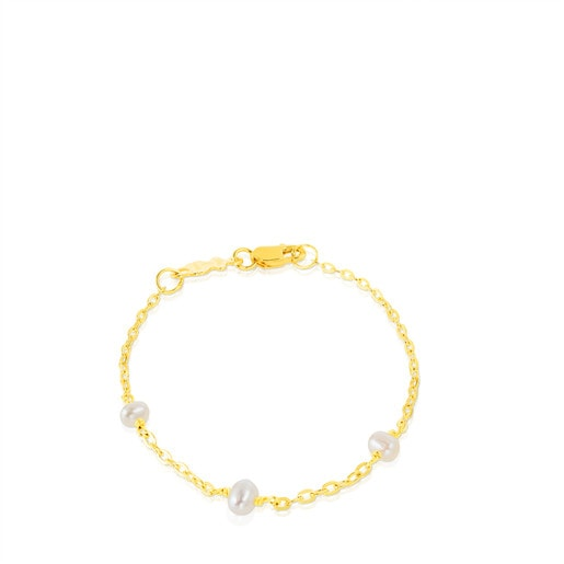 Gold TOUS Baby Bracelet with Pearl