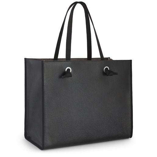Sac shopping Amaya grand noir métallisé