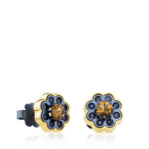 Gold and Titanium View Earrings with Iolites and Citrine
