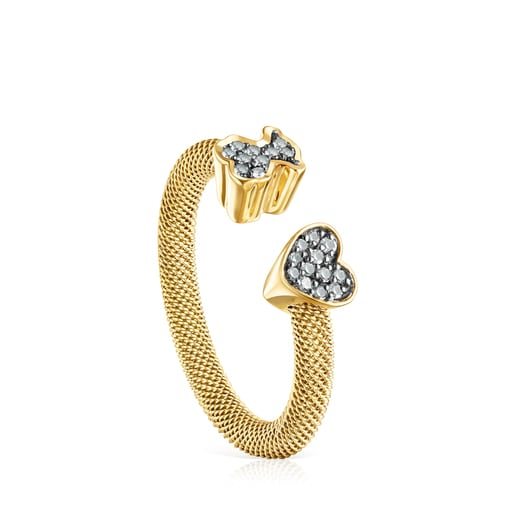 Nocturne open ring in Silver Vermeil with Diamonds