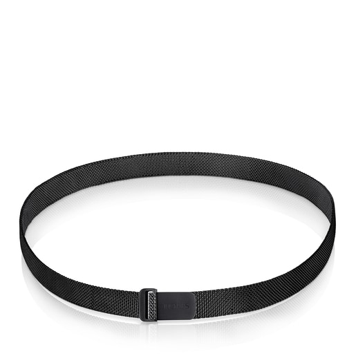 Enge Halskette Mesh aus IP-Stahl in Schwarz