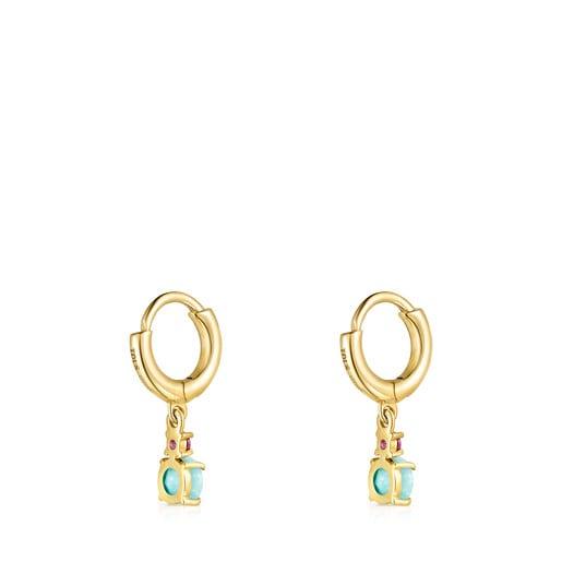 Pendientes cortos Mini Ivette de Oro con Amazonita y Rubí