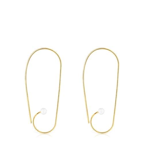Long Silver Vermeil Nenufar Earrings with Pearls