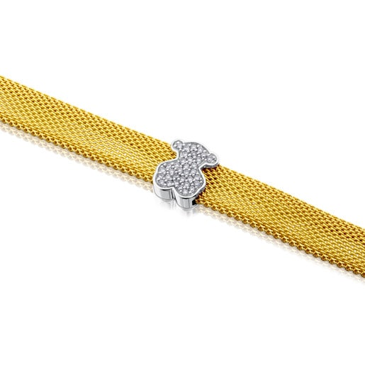 White and yellow gold Icon Mesh Bracelet with Diamonds Bear motif. Total carat weight: 0,20ct.