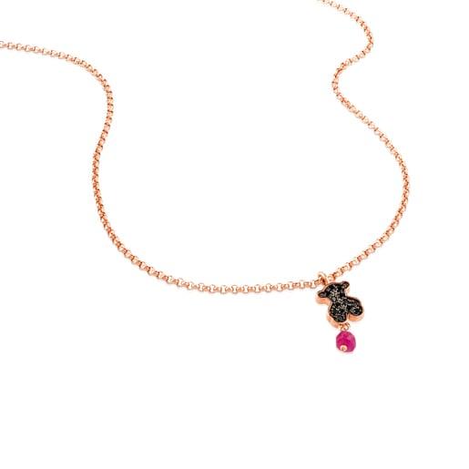 Collar Motif de Plata Vermeil rosa, espinela y rubí motivo Oso.