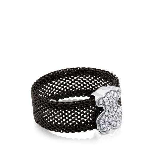 Black IP Steel and White gold TOUS Icon Mesh Ring with Diamonds Bear motif 1,1cm.