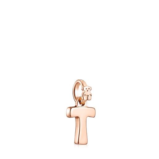 Pendentif Alphabet lettreT en Or Vermeil rose