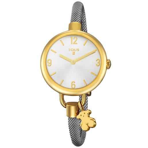 Reloj Hold de acero IP dorado con correa de acero