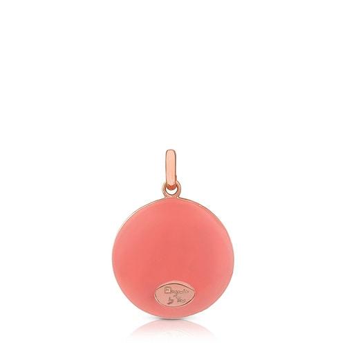 Pingente Tanuca em Prata Vermeil rosa com Esmalte rosa