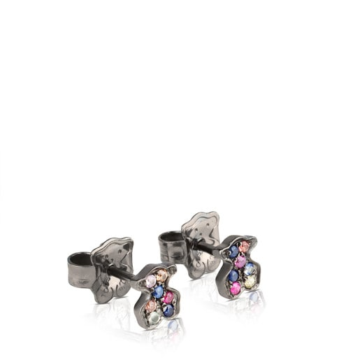 Oxidized Silver TOUS Fantasy Earrings with multicolor Sapphires