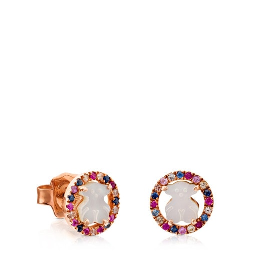 Rose Vermeil Silver Camille Earrings with Mother-of-Pearl and multicolored Sapphire