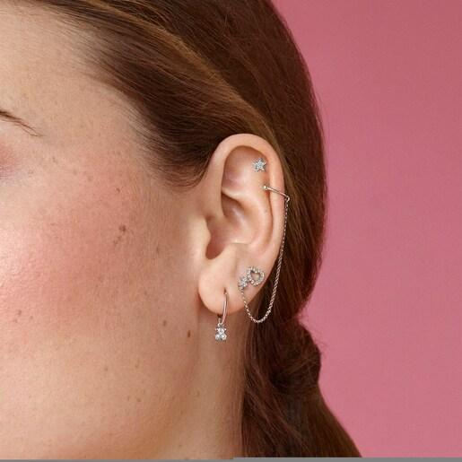 1/2Boucle d'oreille Light en Or blanc avec Diamants