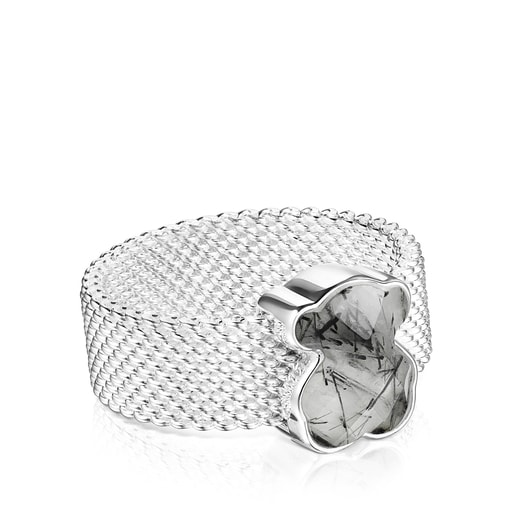 Silver Mesh Color Ring with Tourmalinated quartz
