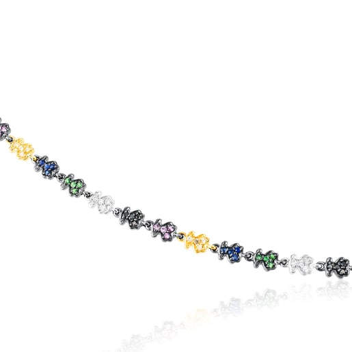 Gold Fancy Bracelet with Sapphire, Tsavorite and Diamond