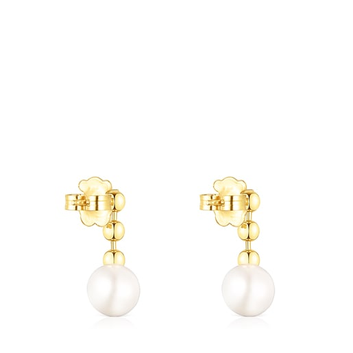 Short Silver Vermeil Gloss ball Earrings with Pearl